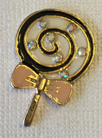 Lollipop Black White Swirl Gold Iridescent Rhinestone Bling Cabochon Alloy Metal Decoden