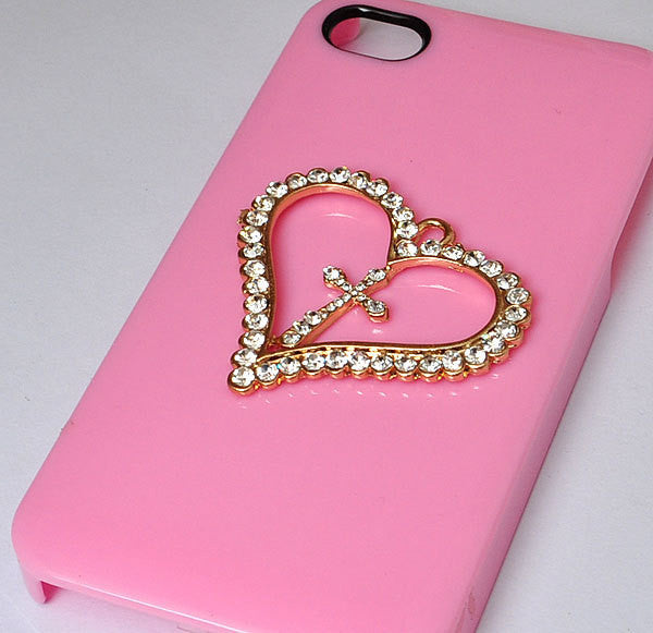 Rhinestone Heart Charm with Cross Alloy Decoden DIY Phone Accessory (TDK-B1027)