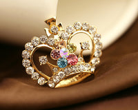 Crown Tiara with Clear and Colored Rhinestones Gold Bling Alloy Decoden DIY Phone Accessory (TDK-B1128)