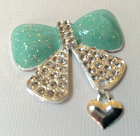 Aqua Crystal Bow with Silver Dangle Heart Rhinestones Bling Cabochon Alloy Metal Decoden (TDK-B1109)