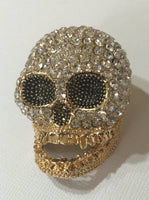 Crystal 3D Skull Rhinestone Bling Cabochon Phone Accessories Alloy Metal Decoden (TDK-B1115)