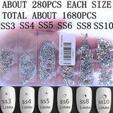 SS3-SS10/1-3mm Clear Glass Round Flat Back Rhinestones Mixed Set - 1680pcs