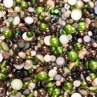 2-10mm Mixed Pearls and Rhinestones Resin Round Flat Back Loose Pearls #14 - 2000pcs