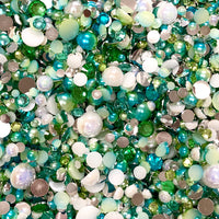 2-10mm Mixed Pearls and Rhinestones Resin Round Flat Back Loose Pearls #15 - 2000pcs