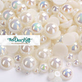 2-10mm Ivory AB Resin Round Flat Back Loose Pearls - 1000pcs