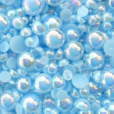 4mm Light Blue AB Resin Round Flat Back Loose Pearls