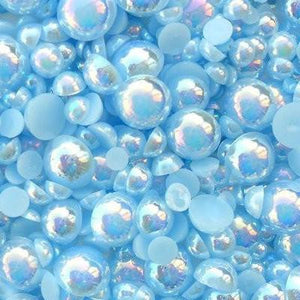 10mm Light Blue AB Resin Round Flat Back Loose Pearls - 500pcs