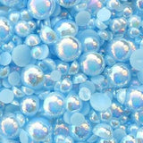 8mm Light Blue AB Resin Round Flat Back Loose Pearls