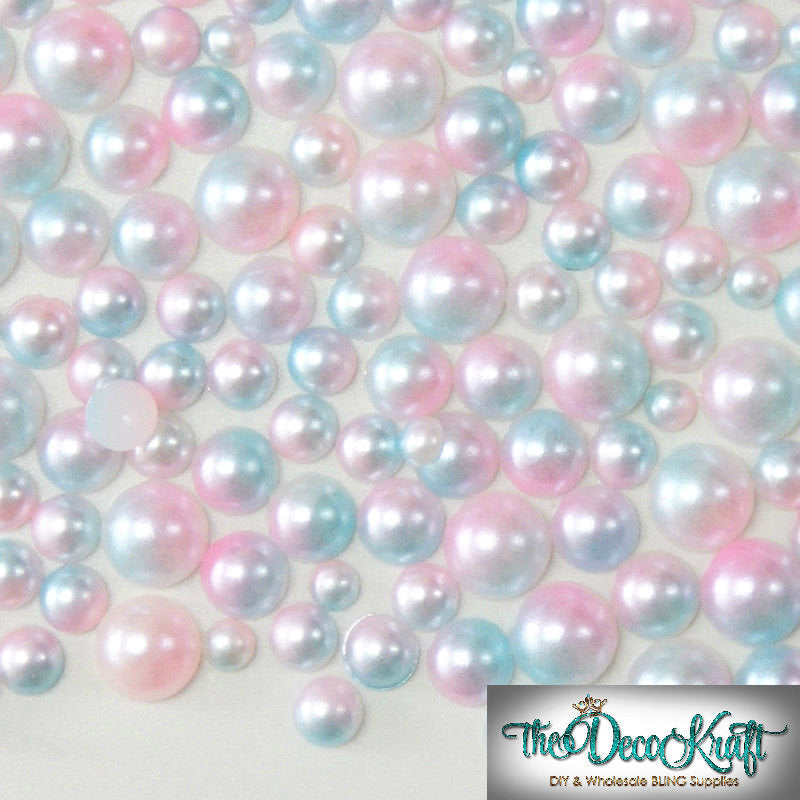 8mm Light Pink and Light Blue Ombre Mermaid Gradient Resin Round Flat Back Loose Pearls - 500pcs