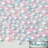3-8mm Light Pink and Light Blue Ombre Mermaid Gradient Resin Round Flat Back Loose Pearls - 1000pcs