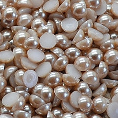 2mm Light Coffee Flatback Half Round Pearls - BULK 10,000 pieces - Loose, Bling, Nail Art, Decoden TDK-P073.1 - TheDecoKraft - 1