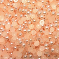 2-10mm Light Orange Resin Round Flat Back Loose Pearls - 42g/1000pcs