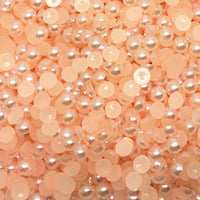 7mm Light Orange Peach Resin Round Flat Back Loose Pearls - 500pcs