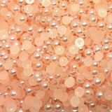 10mm Light Orange Peach Resin Round Flat Back Loose Pearls