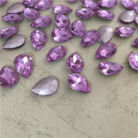 13x18mm Light Purple Glass Teardrop Pointback Chatons Rhinestones - 10pcs