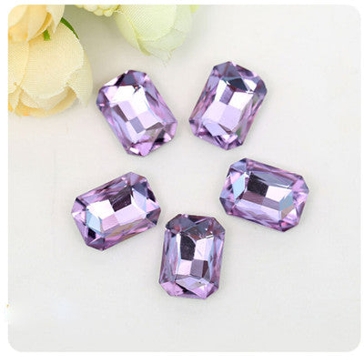 13x18mm Light Purple Glass Emerald Pointback Chatons Rhinestones - 10pcs