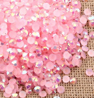 2-6mm Mixed Light Pink Jelly Resin Round Flat Back Loose Rhinestones