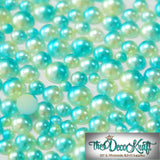 3mm Light Green and Aqua Ombre Mermaid Gradient Resin Round Flat Back Loose Pearls - 5000pcs