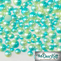 3-8mm Light Green and Aqua Ombre Mermaid Gradient Resin Round Flat Back Loose Pearls - 1000pcs