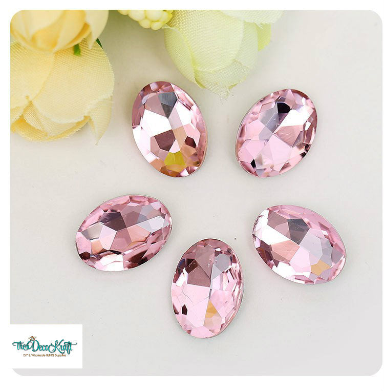 10x14mm Light Pink Glass Oval Pointback Chatons Rhinestones - 10pcs