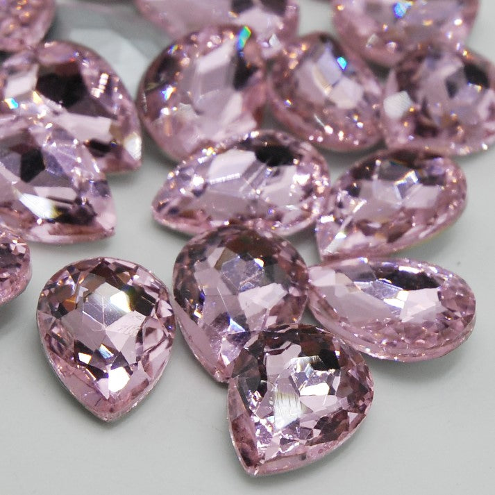 10x14mm Light Pink Glass Teardrop Pointback Chatons Rhinestones - 20pcs