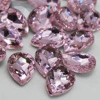 13x18mm Light Pink Glass Teardrop Pointback Chatons Rhinestones