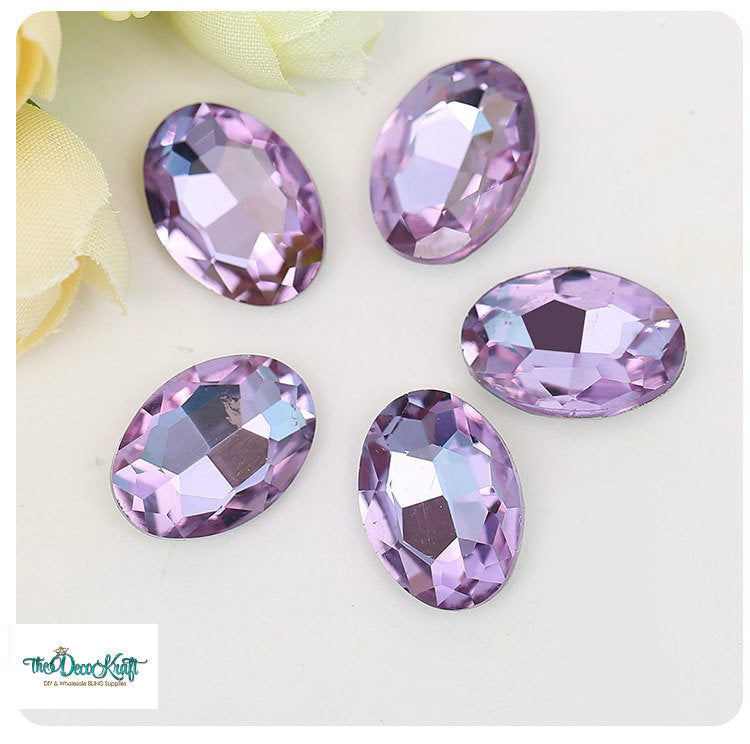 10x14mm Light Purple Glass Oval Pointback Chatons Rhinestones - 10pcs