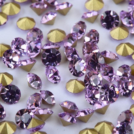 18mm Light Purple Glass Round Pointback Rivoli Rhinestones - 10pcs