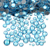 Mixed Aquamarine Glass Round Flat Back Loose HOTFIX Rhinestones - 400pcs