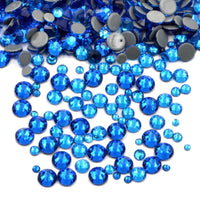 Mixed Capri Blue Glass Round Flat Back Loose HOTFIX Rhinestones - 400pcs