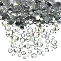 Mixed Clear Glass Round Flat Back Loose HOTFIX Rhinestones - 400pcs