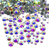 Mixed Clear AB Glass Round Flat Back Loose HOTFIX Rhinestones - 400pcs
