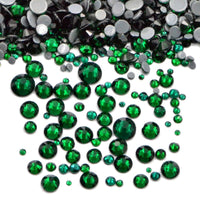 Mixed Emerald Glass Round Flat Back Loose HOTFIX Rhinestones - 400pcs