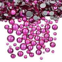 Mixed Fuchsia Glass Round Flat Back Loose HOTFIX Rhinestones - 400pcs