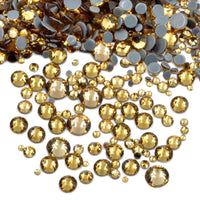 Mixed Light Topaz Glass Round Flat Back Loose HOTFIX Rhinestones - 400pcs