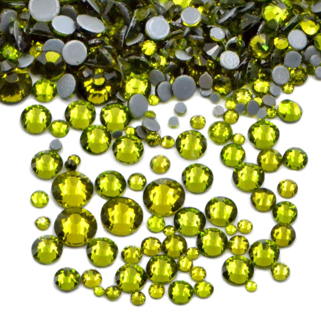 Mixed Olive Green Glass Round Flat Back Loose HOTFIX Rhinestones - 400pcs