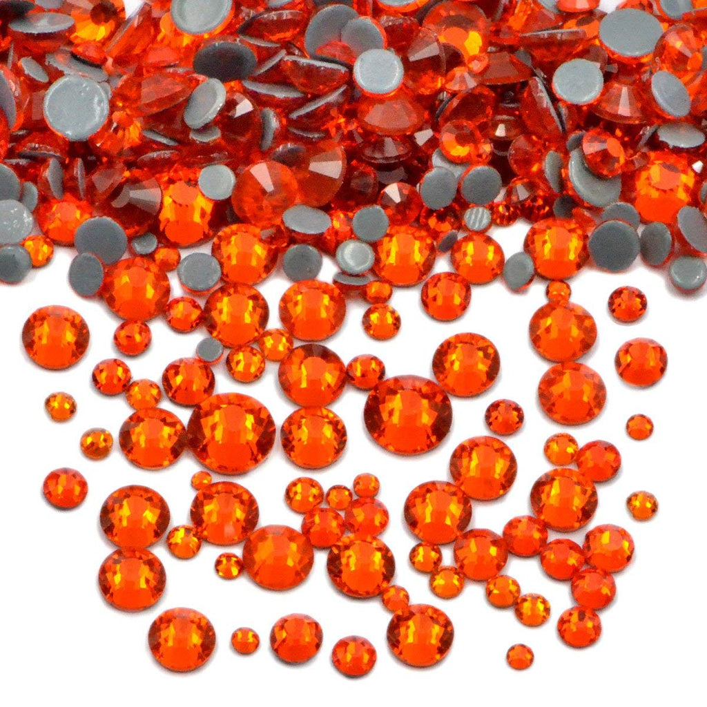 Mixed Orange Glass Round Flat Back Loose HOTFIX Rhinestones - 400pcs