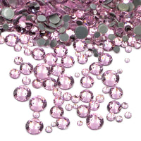 Mixed Light Rose Pink Glass Round Flat Back Loose HOTFIX Rhinestones - 400pcs