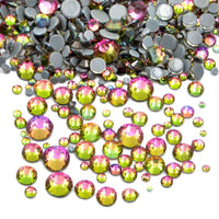 Mixed Rainbow Volcano Glass Round Flat Back Loose HOTFIX Rhinestones - 400pcs