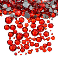 Mixed Siam Red Glass Round Flat Back Loose HOTFIX Rhinestones - 400pcs