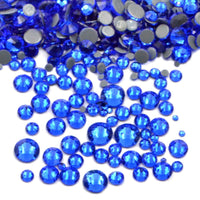 Mixed Sapphire Blue Glass Round Flat Back Loose HOTFIX Rhinestones - 400pcs