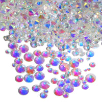 Mixed Clear AB Transparent Glass Round Flat Back Loose HOTFIX Rhinestones - 400pcs