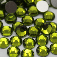 Olive Green Crystal Glass Rhinestones - SS34, 288 pieces - 7mm Flatback, Round, Loose Bling - TheDecoKraft - 1