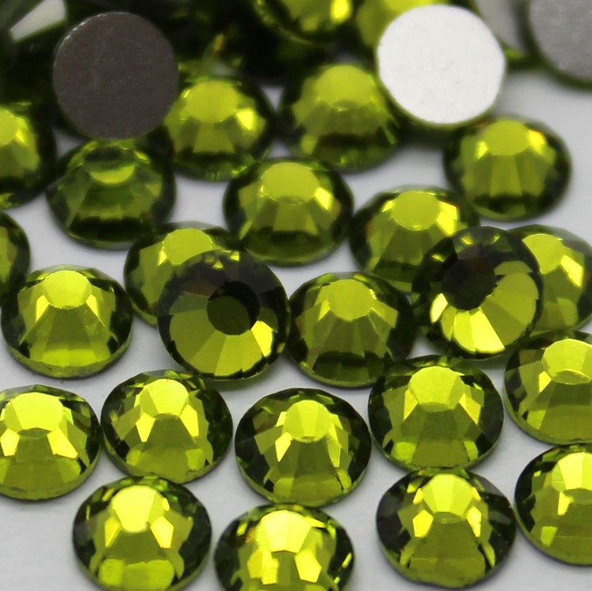 Olive Green Glass Crystal Glass Rhinestone - SS12, 1440 pieces - 3mm Flatback, Round, Loose Bling - TheDecoKraft - 1