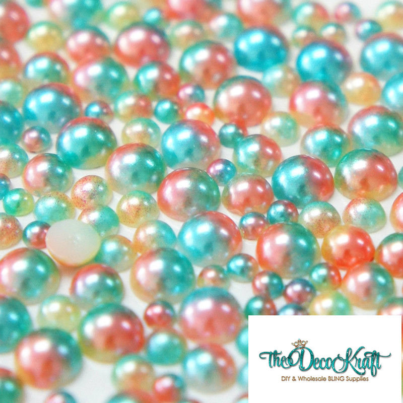 3mm Green and Tan Ombre Mermaid Gradient Resin Round Flat Back Loose Pearls - 5000pcs