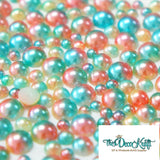 3-8mm Green and Tan Ombre Mermaid Gradient Resin Round Flat Back Loose Pearls - 1000pcs