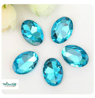 13x18mm Aqua Acrylic Oval Pointback Chatons Rhinestones - 25pcs