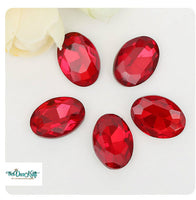 13x18mm Red Acrylic Oval Pointback Chatons Rhinestones - 25pcs