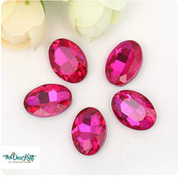 13x18mm Rose Acrylic Oval Pointback Chatons Rhinestones - 25pcs