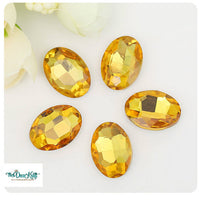 13x18mm Topaz Acrylic Oval Pointback Chatons Rhinestones - 25pcs